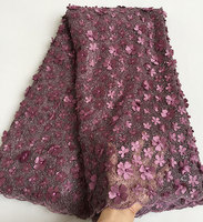 Unique Classic Grayish Purple French Lace Cord Embroidery African Tulle Lace Fabric With Small Sequins Allover