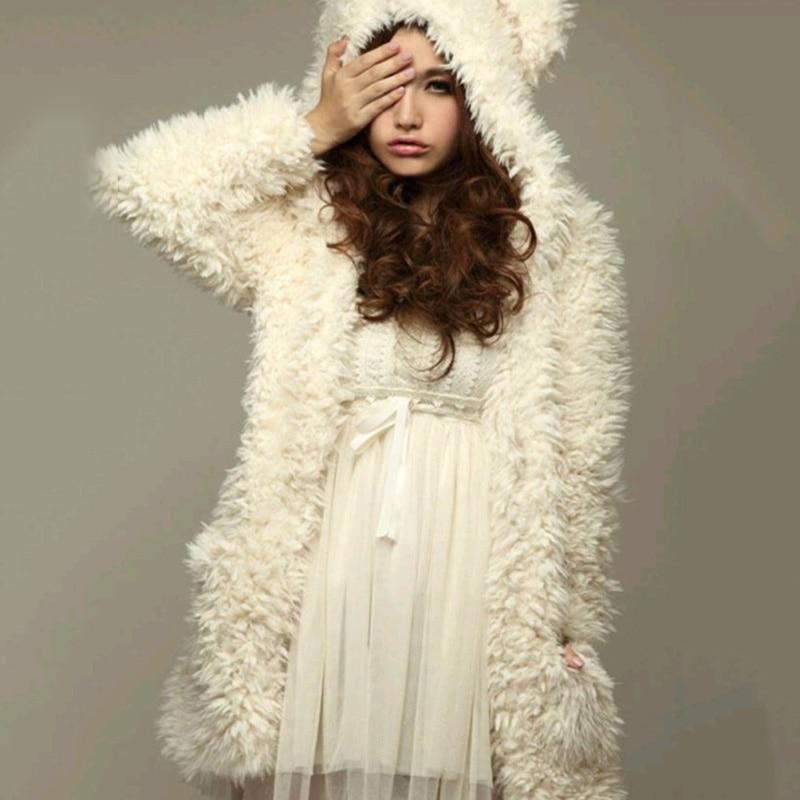 Новинка 2017 зима милый кролик пальто с искусственным мехом Меховая куртка для женщин fox жилет Длинные Плюшевые белой шерсти теплый искусстве... ...