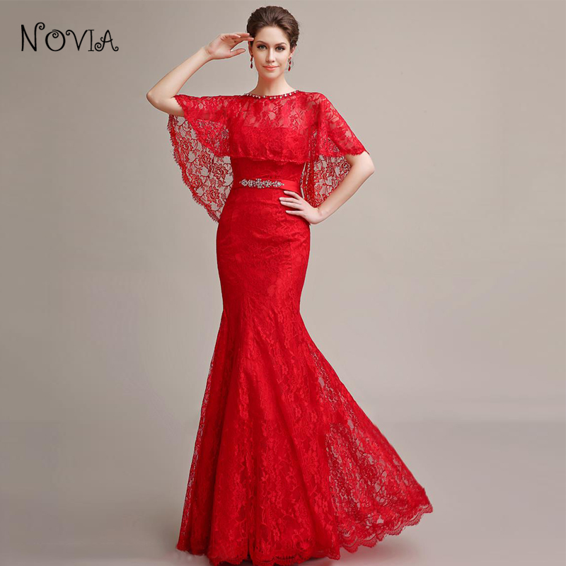651767207435 fashion elegant long evening dresses with Shawl strapless mermaid red lace  women dinner dress for formal party vestidos