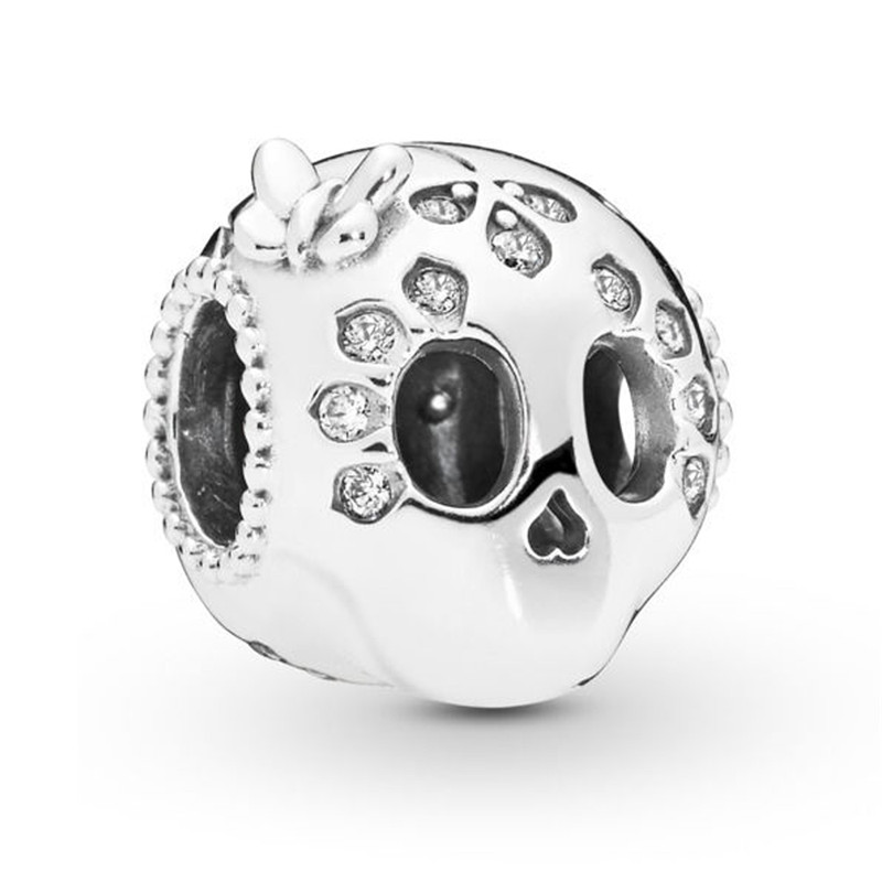 2019 Spring New 925 Sterling Silver Bead Sparkling Skull Charm Fit Original Pandora Bracelet for Women DIY Jewelry Birthday Gift in Beads from Jewelry Accessories