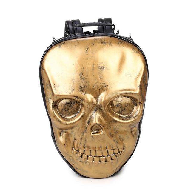 New Unisex Black Leather Backpack 2017 New Brand Women Rock Style Zipper Shoulder Bags Teenagers Skull Printing Backpacks 1