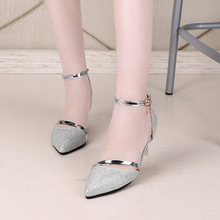 Sexy Shoes Woman High Heels Gold Silver Wedding Shoes Birde Rhinestones  Women Shoes Summer Sandals ladies ee6c7ad42c8a
