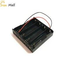 4x18650 Caixa de Armazenamento Da Bateria de Plástico preto Caso 4 Slot Forma DIY Baterias Clipe Titular Container Com Chumbo Fio pin em paralelo