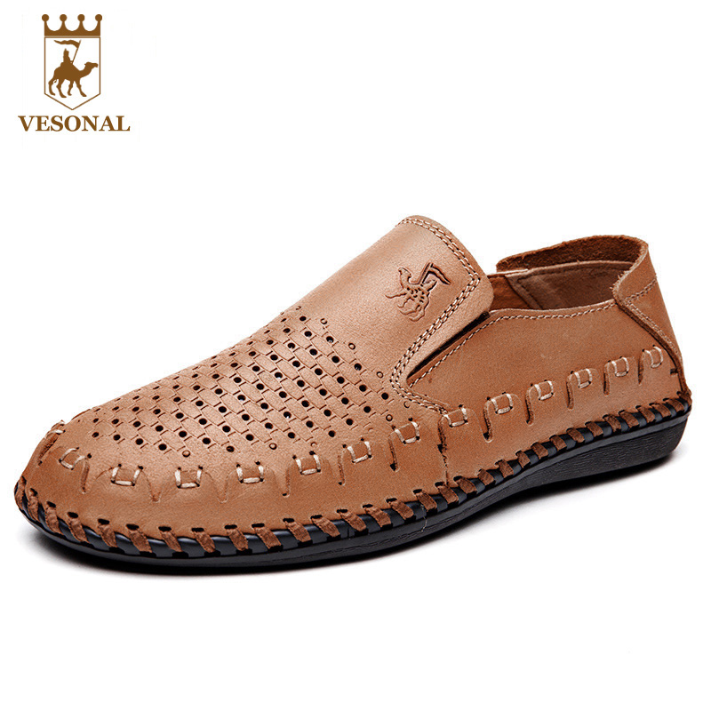 VESONAL  Genuine Leather Spring Summer Breathable Brand Casua Shoe Men Loafers Soft Mocassin Male Ons Boat Walking Footwear Man vesonal summer 100