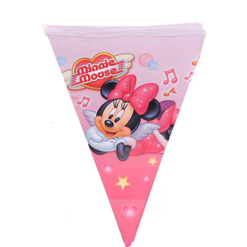 Для девочек Минни Маус День рождения тема украшения Дети День Рождения Бумажный мультяшный стаканчик и тарелка салфетка баннер