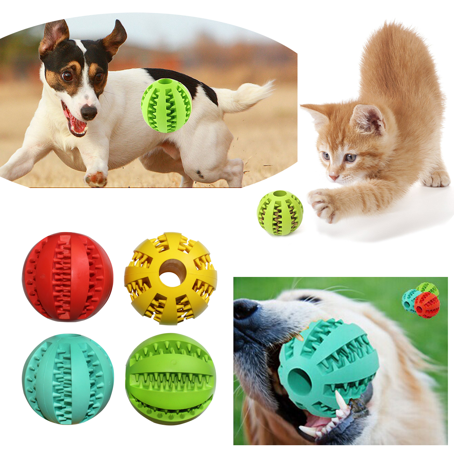7CM Dog Toys Rubber Balls Pet Dog Cat Puppy Chew Toys Ball Chew