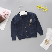 6M 4Y Sweater For Boys Epaulet Design Boys Warm Wool Hand Knit Sweater Cardigan Children Clothes