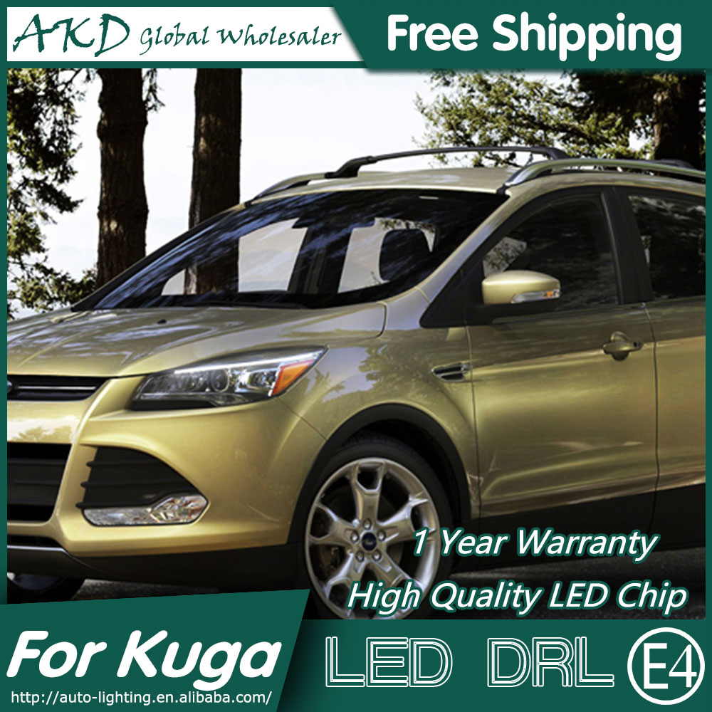 AKD Car Styling LED DRL for Ford Kuga 2014-2015 Escape Eye Brow Light LED External Lamp Signal Parking Accessories akd car styling led drl for kia k2 2012 2014 new rio eye brow light led external lamp signal parking accessories