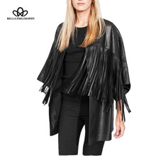 Bella Philosophy 2017 new spring faux PU leather long hollow out fringed jacket with tassels