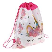 Единорог шнурок мешок для девочек Путешествия хранения посылка мультфильм школьные рюкзаки детей день рождения сувениры