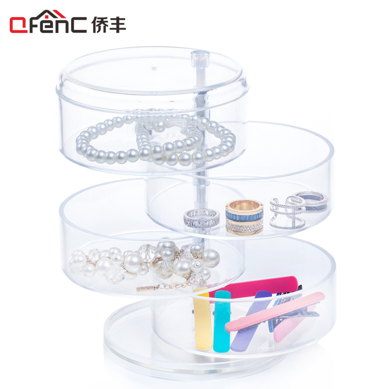 QFENC Premium Quality 4 Compartments Cylinder Jewelry Organizer Rotatable Plastic Headband & Hair Accessory Holder Storage Stand
