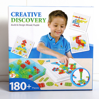DIY Discovery Build Design Mosaic Puzzles Play Toys Set with Screw Nuts Tools Creative and Educational Gift for Kids 180+PCS