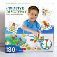 DIY descubrimiento construcción diseño mosaico rompecabezas juego de juguetes con tuercas de tornillo herramientas regalo creativo y educativo para niños 180 + piezas