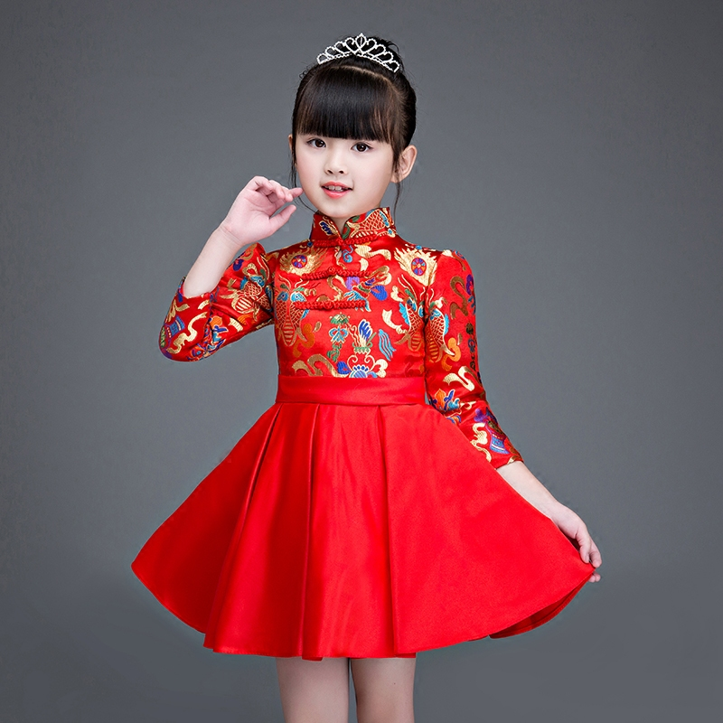 2017 Girls New Year's Embroidery flowers one- piece dress Chinese red cheongsam birthday party children gift ball Gown dress a three dimensional embroidery of flowers trees and fruits chinese embroidery handmade art design book