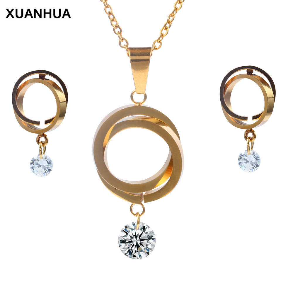 XUANHUA Stainless Steel Fashio Bridal Jewelry Sets Jewellery Women Jewelry Set Dubai Jewelry Schmuck African Jewelry Set Golden