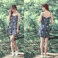 Senhoras verão spaghetti strap vestidos de festa de verão da cópia floral mini dress cintura alta praia vestidos de linho de algodão mulheres zi5075