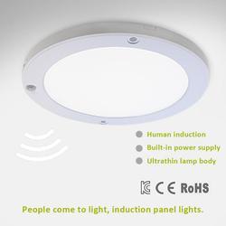 Ceiling Lamp AC 220-240V Ultrathin Round LED Ceiling Panel Light PIR Human Body Motion Sensor Induction Downlight