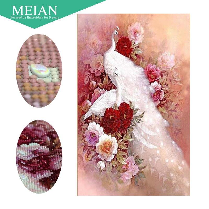 Meian, Pavo Real pintura diamante 5D DIY, forma especial, Animal, bordado del diamante, puntada cruzada, rhinestone diamante mosaico venta, decoración