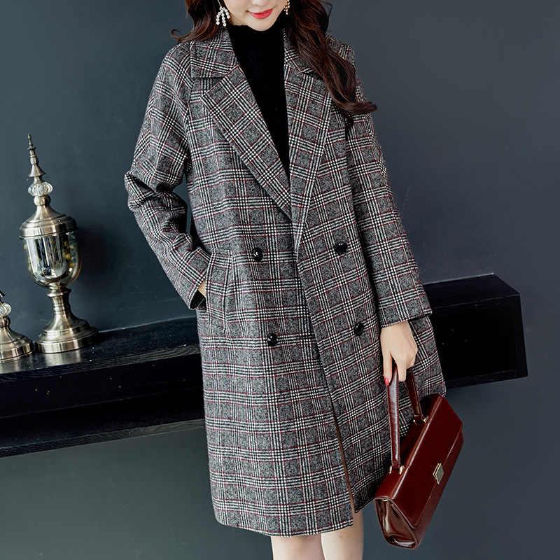Popularne kraty wełniany płaszcz kobiet 2019 jesień zima nowy kombinezon kołnierz luźne panie płaszcz z długim rękawem modne koreańskie ubrania 1207