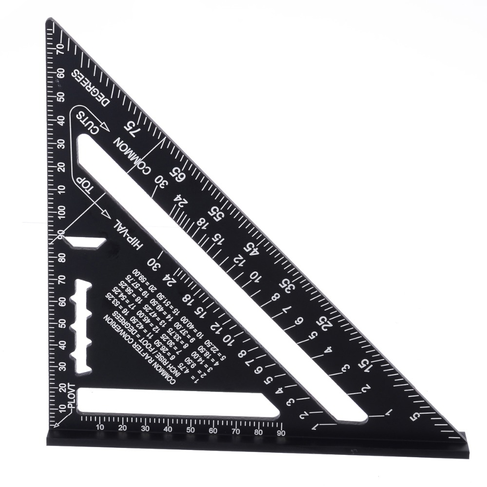 7inch Metric System Measuring Ruler Aluminum Alloy Speed Square Roofing Triangle Ruler for Woodworking Measuring Tools