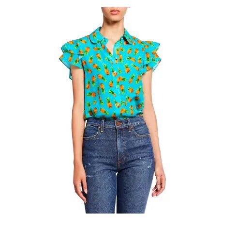 2019 printemps et été col claudine volants manches courtes ananas imprimé fille douce 100% soie petit haut