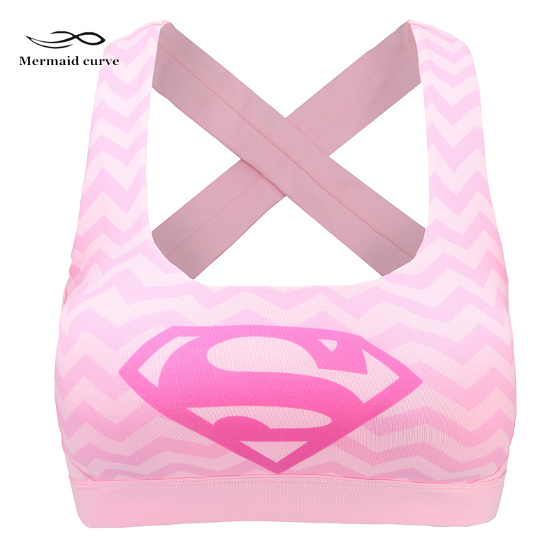 Mermaid Curve Women Sexy Sports Bra Back Cross Push Up Shockproof Yoga Vest Captain America Superman Running Gym Fitness Bras