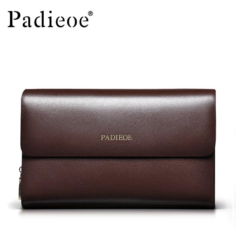 Padieoe Multi-function Business Men Wallets Double Zipper Men's Clutch Bags Genuine Leather Purses Fashion Male Handbags Bag