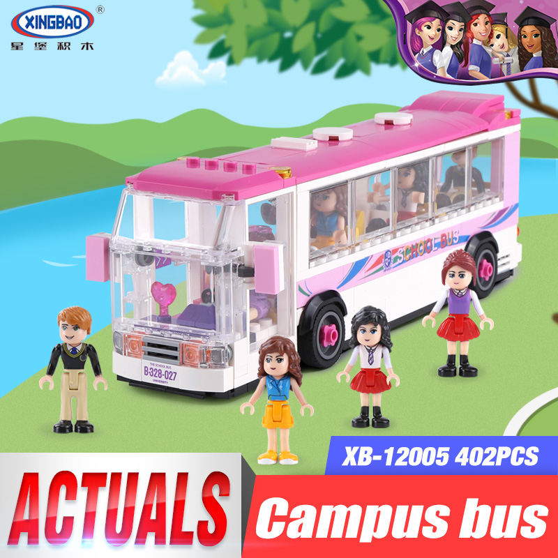 XINGBAO 12005 402Pcs The School Bus Model Sets City Girl Series LegoINGlys Building Nano Blocks Bricks Funny Toys For Kids Gifts kaygoo building blocks aircraft airplane ship bus tank police city military carrier 8 in 1 model kids toys best kids xmas gifts