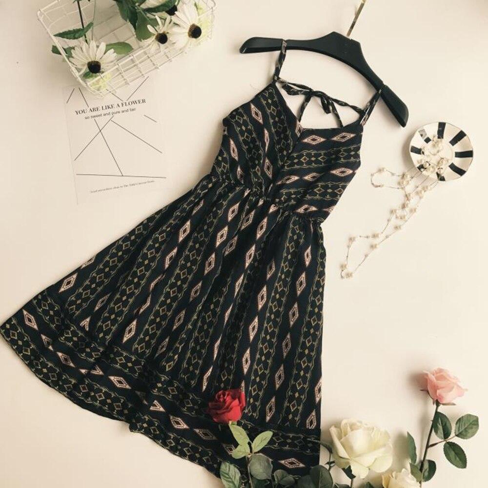 Modstreets Summer V Neck Casual Dress Women Spaghetti Strap Backless Sundress Print Knee Length Fashion Balck Sleeveless Dress