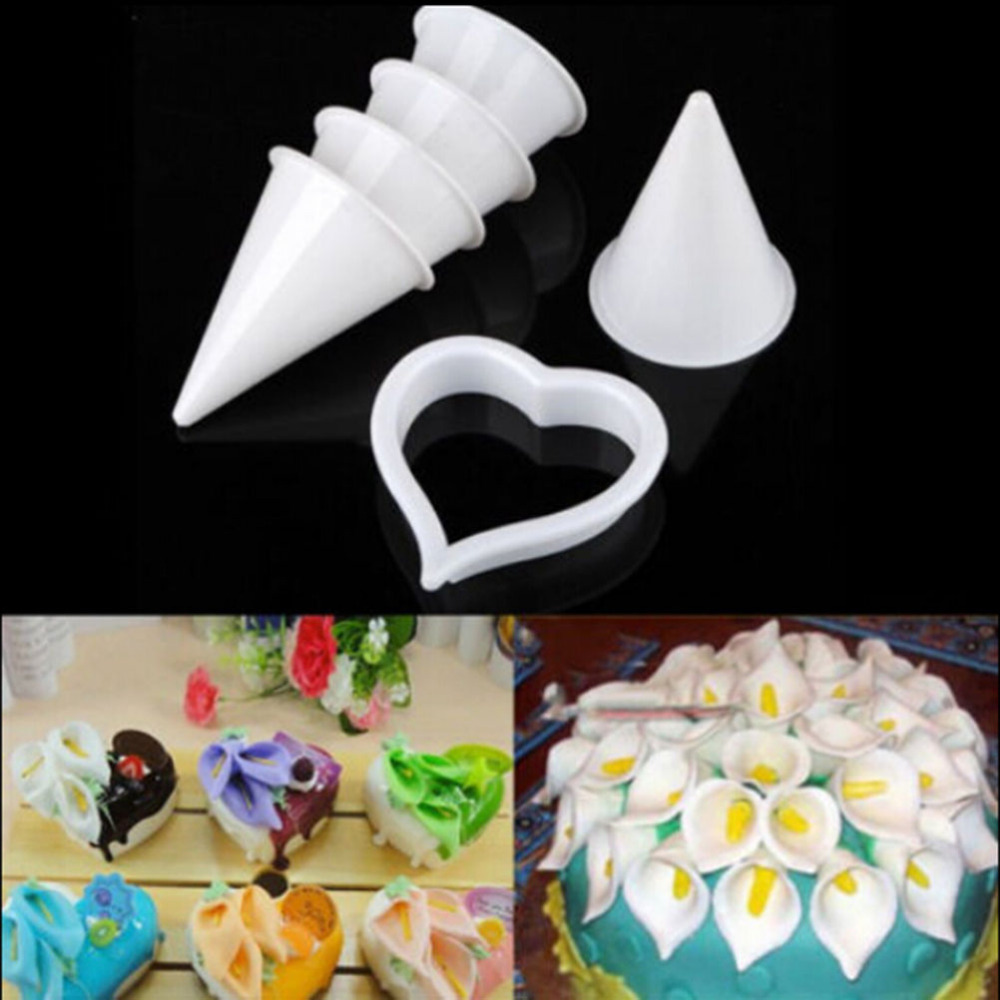 7 Pcsset Icing Fondant Cake Decorating 3d Calla Lily Flower Cookie