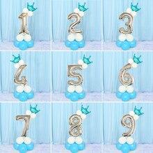 Bambini Buon Compleanno Palloncino Impostato Il Mio Primo 1st Unicorno Decorazione Del Partito Del Bambino Della Ragazza del Ragazzo Adulto 2nd 3 4 di Un Anno forniture di Oro Rosa