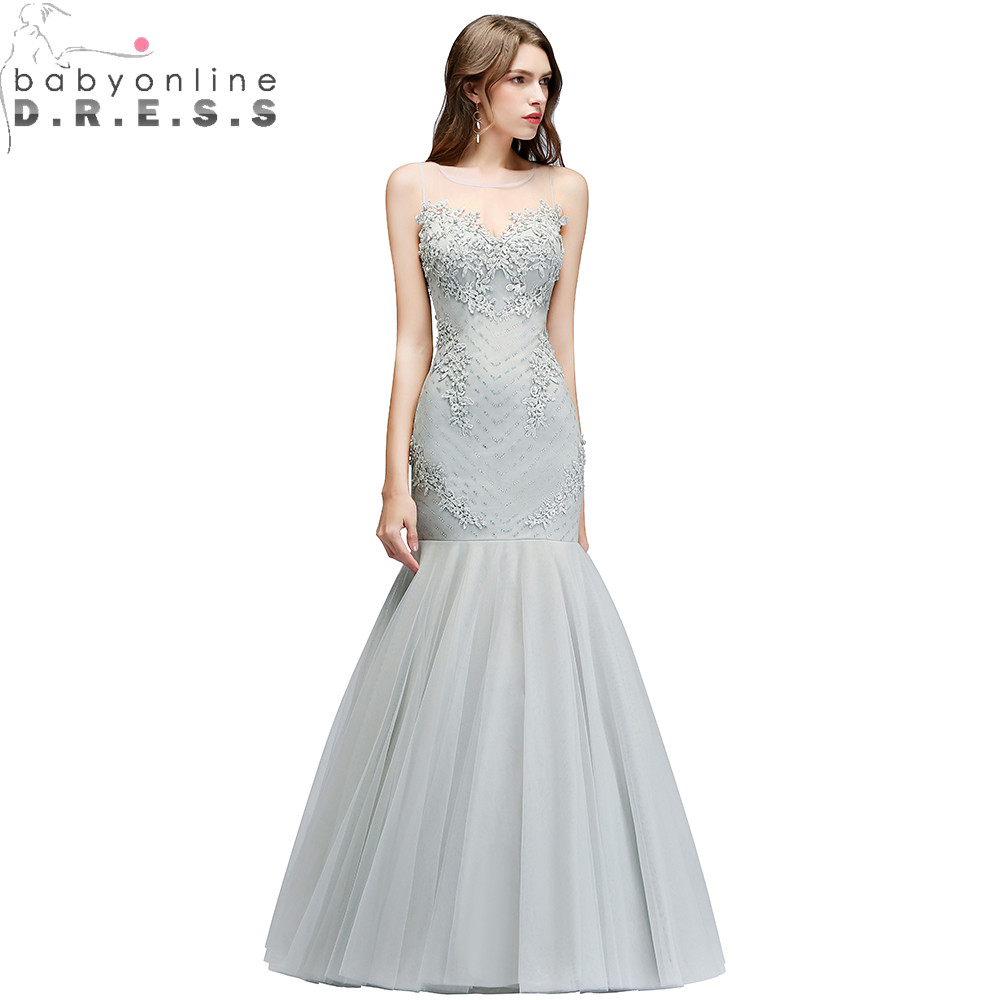 Robe de Soiree Sexy Illusion Mermaid Lace Long Evening Dress 2018 Gray Tulle Evening Gown with Pearls Vestido de Festa
