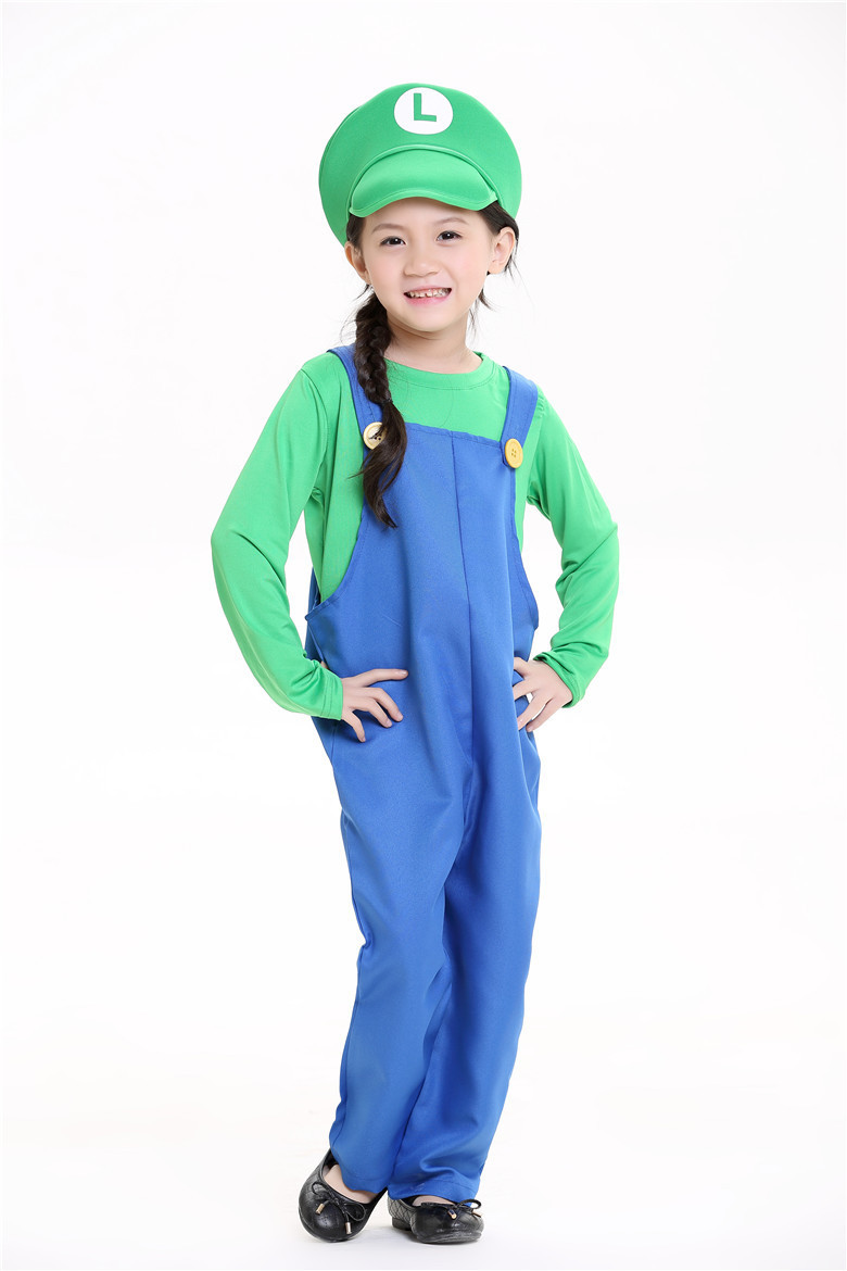 Boys Girls Cosplay Party Super Mario Bros Funny Jumpsuit
