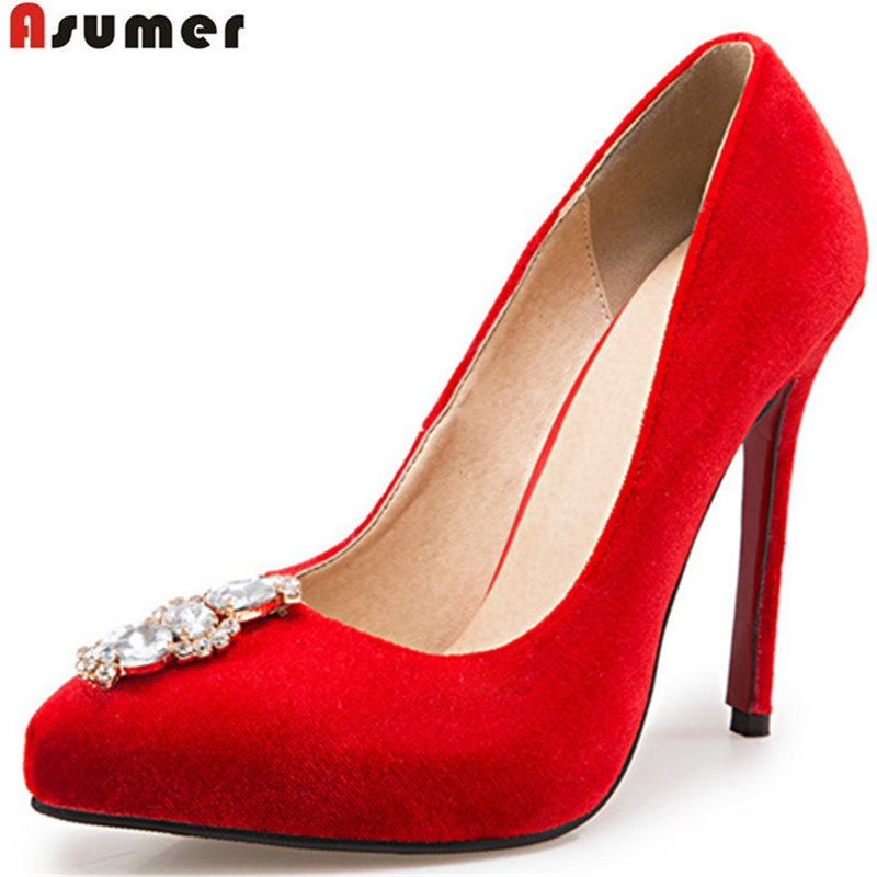 Asumer 2017 spring autumn new arrive women pumps fashion pointed toe flock rhinestone sexy lady wedding shoes big size 33-43 new 2017 spring summer women shoes pointed toe high quality brand fashion womens flats ladies plus size 41 sweet flock t179