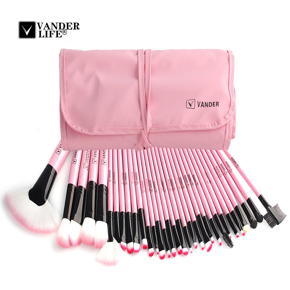 Women's 24 /32 pcs/kits Make Up Brush Set Professional Cosmetic Face & Eye Styling Tools Powder Makeup Brushes + Bag maquiagem zoreya 18pcs makeup brushes professional make up brushes kits cosmetic brush set powder blush foundation eyebrow brush maquiagem