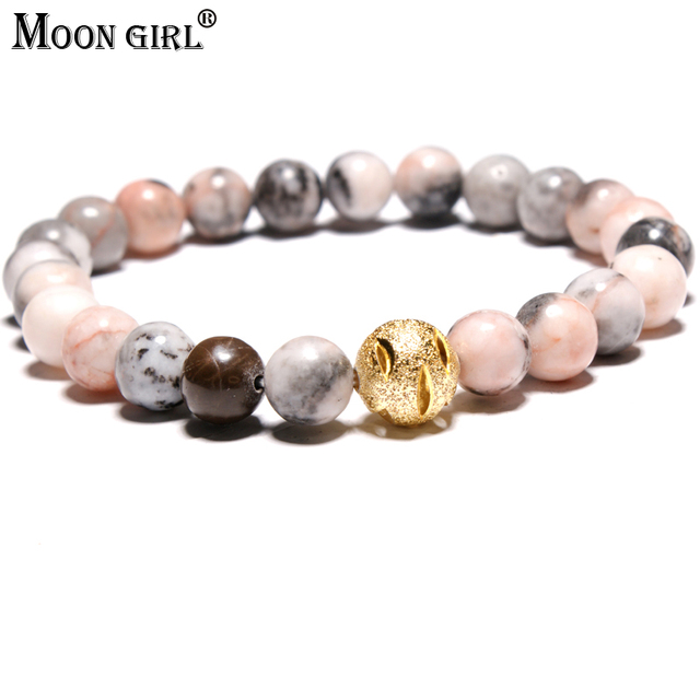 MOON GIRL Exclusive Design Fashion Bracelet for Men Natural Stone Beads New Year