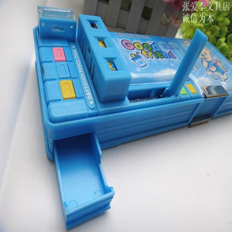 Многофункциональный канцелярские коробка двуличный автоматические пластиковые карандаш чехол