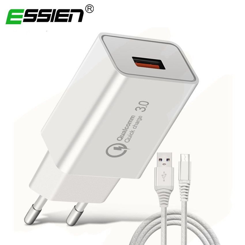 ESSIEN 18W Quick Charger 3.0 EU Plug Mobile Phone Micro USB Fast Charger USB Adapter Wall Charger Micro USB Cable Tablet Devices