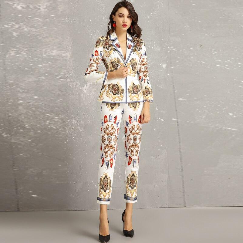 Kadın Giyim'ten Kadın Setleri'de Yüksek kaliteli Moda Pist Tasarımcısı mont Iki Adet Set Kadın Uzun Kollu Boncuk ceket + Vintage Desen Baskı Pantolon Setleri takım elbise'da  Grup 1