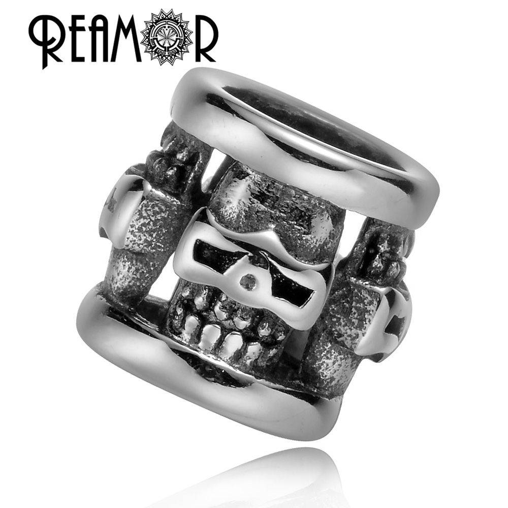 REAMOR Punk 316l Rustfritt stål Skull Big Hole Spacer Perler for Smykker Making DIY Metal Charm Perler Engros for Armbånd