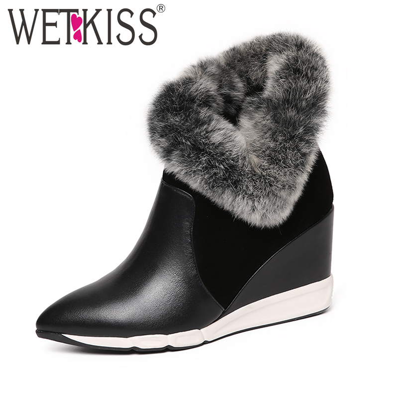 WETKISS 2018 Fashion Fur Ankle Boots Women Genuine Leather Suede Warm Short Plush Winter Boots Wedges Shoes Woman Pointed toe wetkiss big size 32 43 genuine leather pointed toe ankle boots women 2017 winter boots short plush keep warm wedges shoes woman