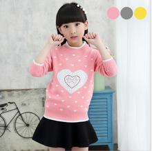 Woolen pullover knitted sweater Korean children bottoming sweaters Casual O-Neck Solid Girl Clothes S072