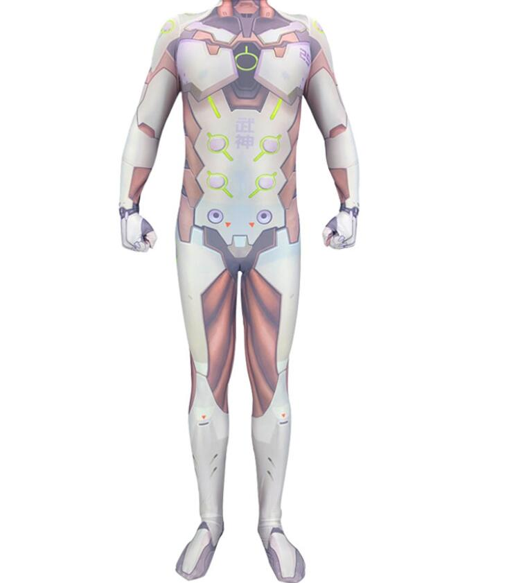 Game Saints' All Hallows' Day Overwatch Genji Cosplay Costumes 3D Printed Halloween Zentai Jumpsuit Tights for Adults/Kids 2