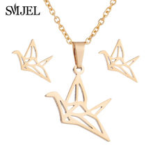 SMJEL Paper Crane Necklace Women Origami Pigeon Pendant Clavicle Chain Statement Choker Necklaces(China)