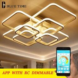 Moderne Led lustre anneaux salon salle à manger chambre Led Lustres fonction de mémoire Led plafond lustre luminaires