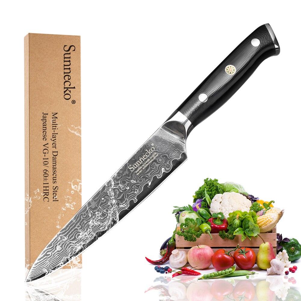 Superior SUNNECKO 5 inch Utility Kitchen Knife Japanese VG10 Steel Razor Sharp Blade G10 Handle Damascus Cleaver Slicing