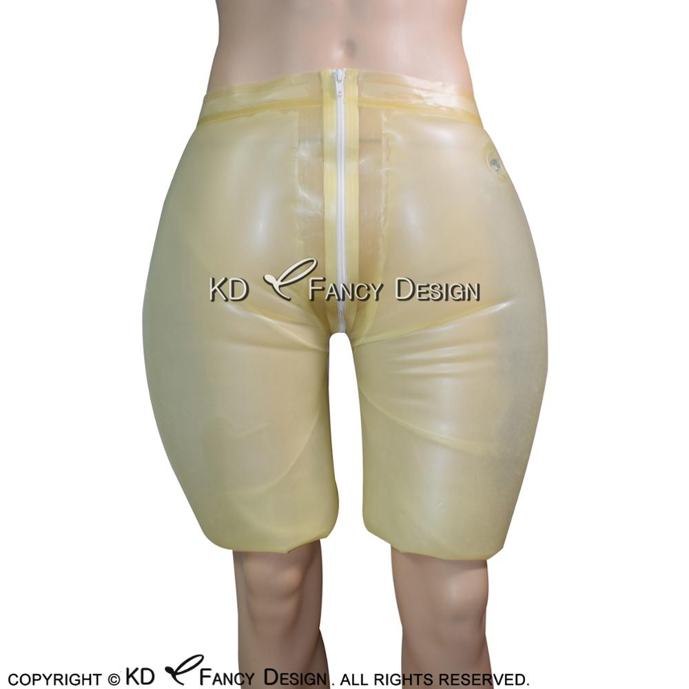 Transparent Inflatable Sexy Latex Long Leg Boxer Shorts With Zipper Nozzle Rubber Boy Shorts Underpants Underwear Pants DK 0149
