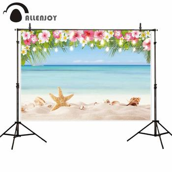 Allenjoy photo shoots backdrop beach sea sky starfish flowers string lights party photophone background photozone photocall image