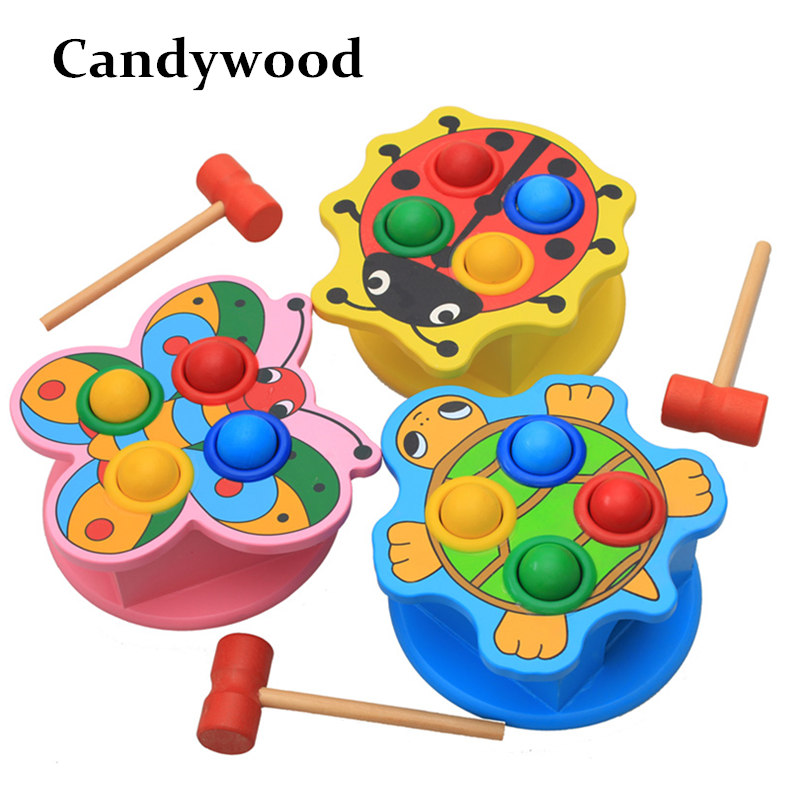 Candywood Cartoon animal Hammering Wooden Ball Hammer Box rap Toy Children Montessori Early Learning Educational Toys for kids 120pcs cartoon wooden jigsaw puzzle education toy for kid children baby montessori wooden toys