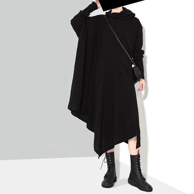premium selection 4afc7 8a37d US $45.6 5% di SCONTO Nero/grigio stile giapponese mantello lungo  irregolare vestito lavorato a maglia donna autunno primavera più il formato  oversize ...